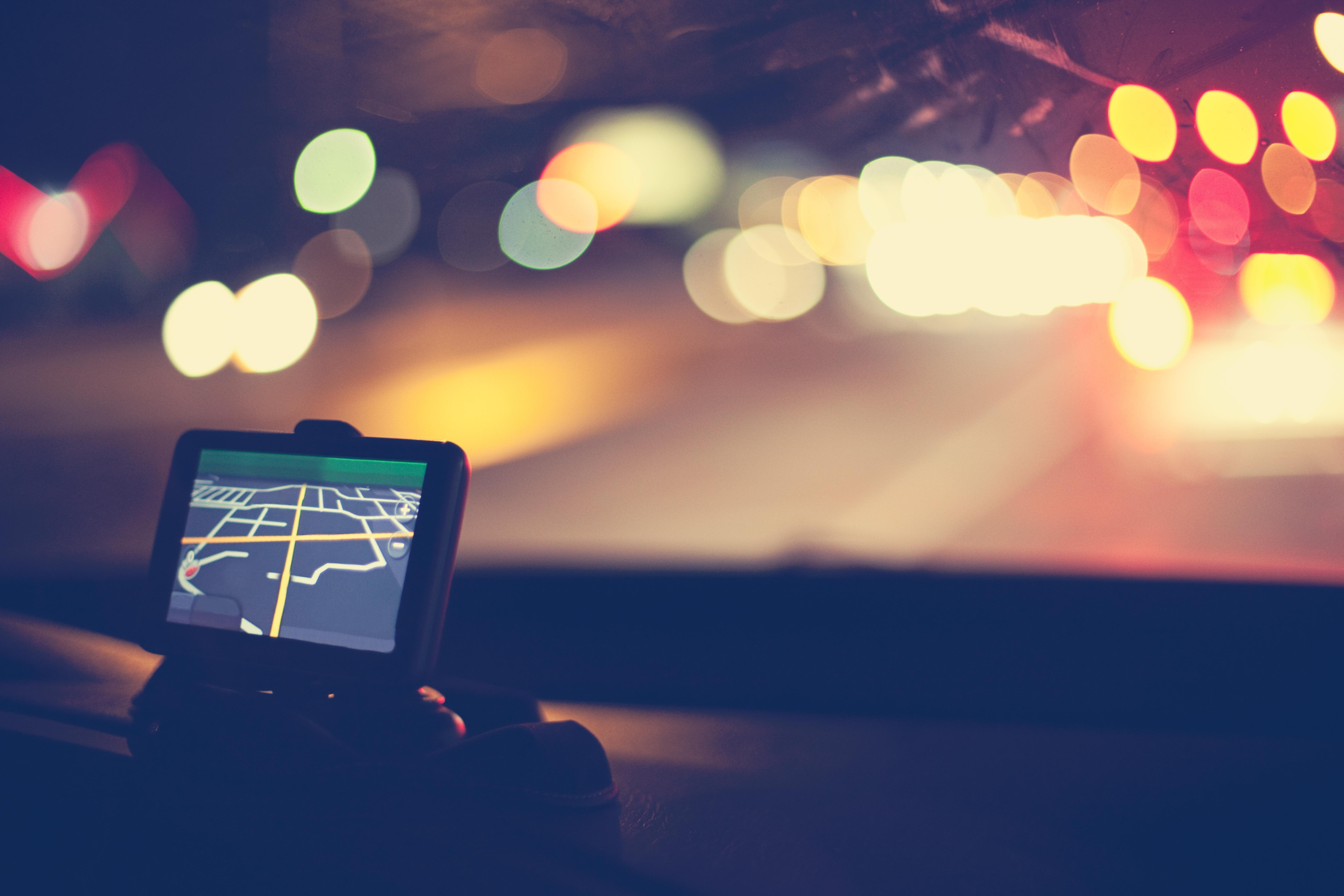 GPS navigational system on dashboard of car