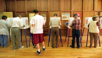 The voting booths were full at Trinity Episcopal Church in Fillmore where residents gathered to cast