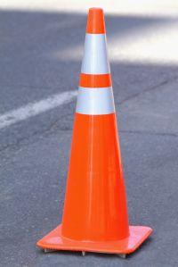 Traffic cone, close-up