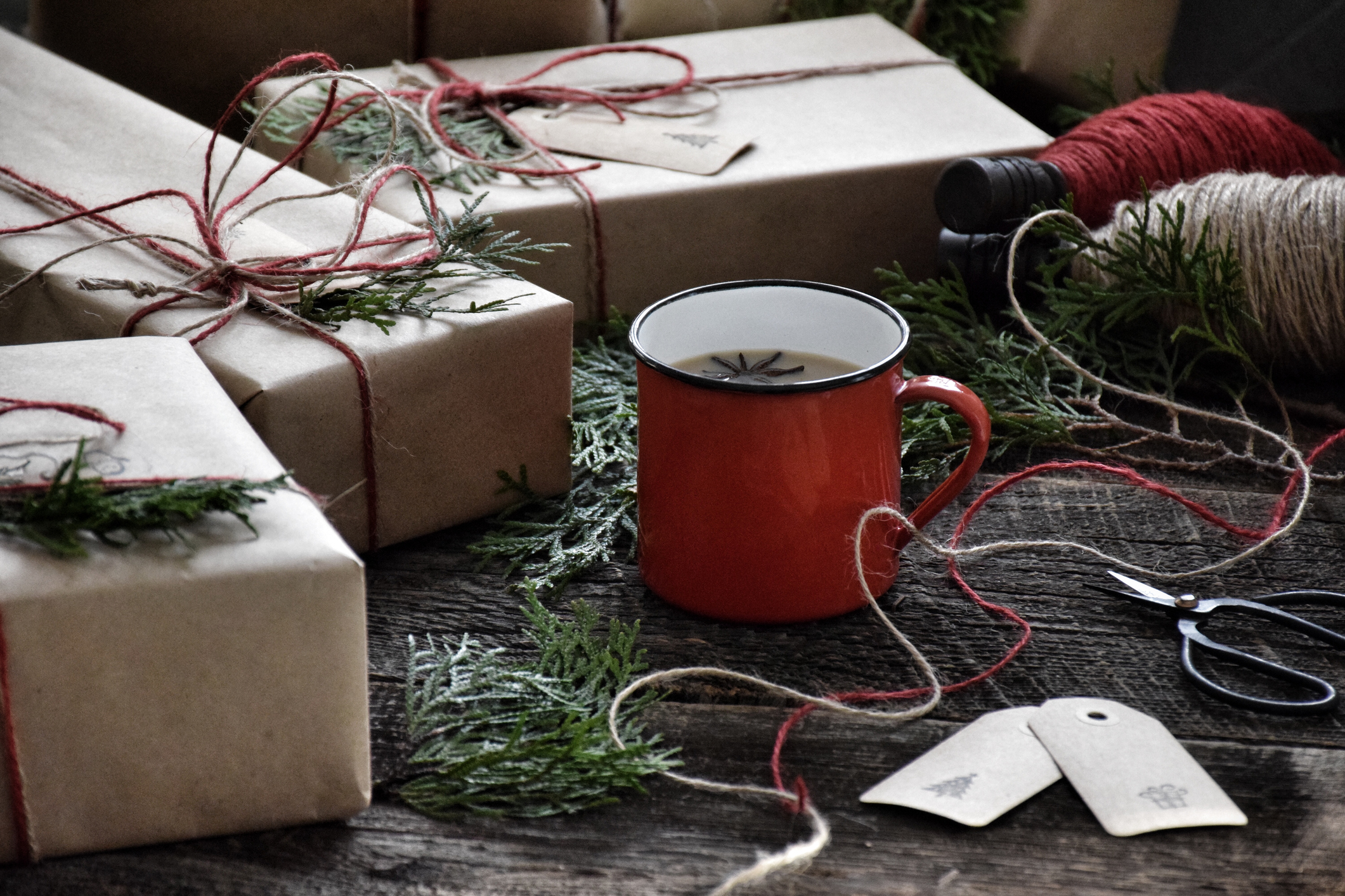 Wrapped gifts with a cup of tea