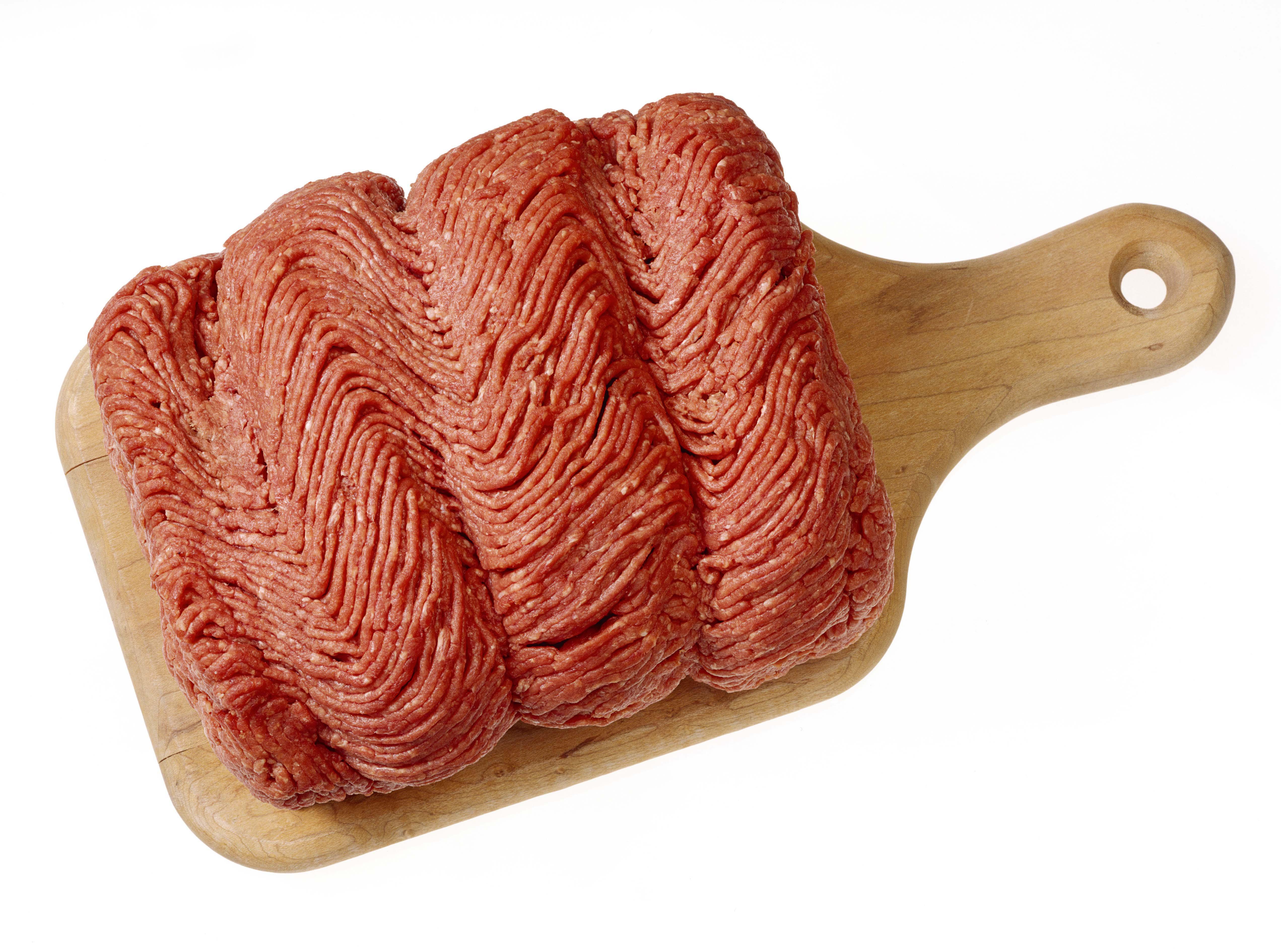 Raw ground beef on cutting board