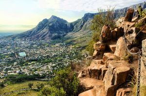 Aerial view from Lions Head looking at Table Mountain with hiking trail, Cape Town, South Africa