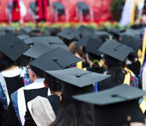 graduation caps during commencement