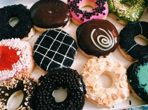 High Angle View Of Donuts