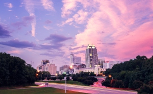 The Raleigh Skyline at Sunset