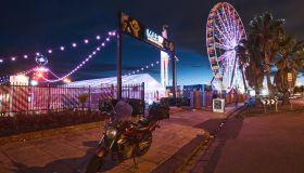 Night market with Ferris wheel, St Kilda