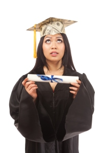Student Graduate Worrying about Loans, Financial Future on White Background
