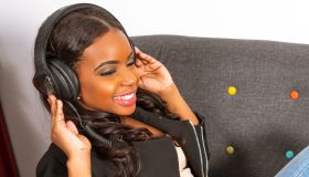 African American Woman Wearing Headphones