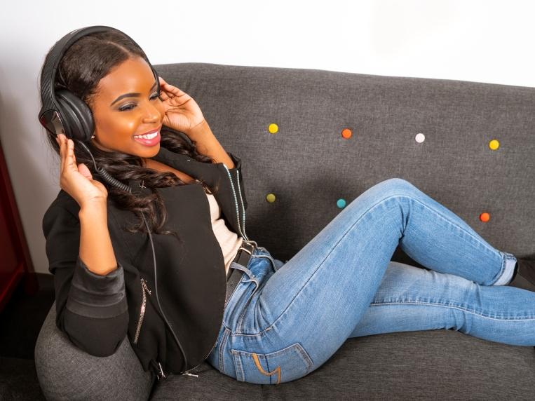African American Woman Wearing Headphones