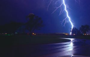 view of a bolt of lightning hitting the ground
