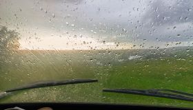 Water droplets on window of car