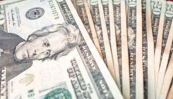 LAS VEGAS, USA - APRIL 15, 2019: Selection of twenty dollar notes from winnings in las vegas
