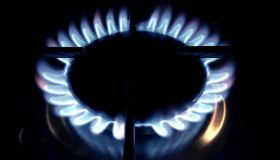A blue gas flame on a domestic cooking hob