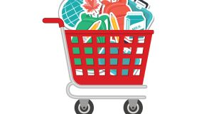 Shopping Cart Filled With Back To School Supplies